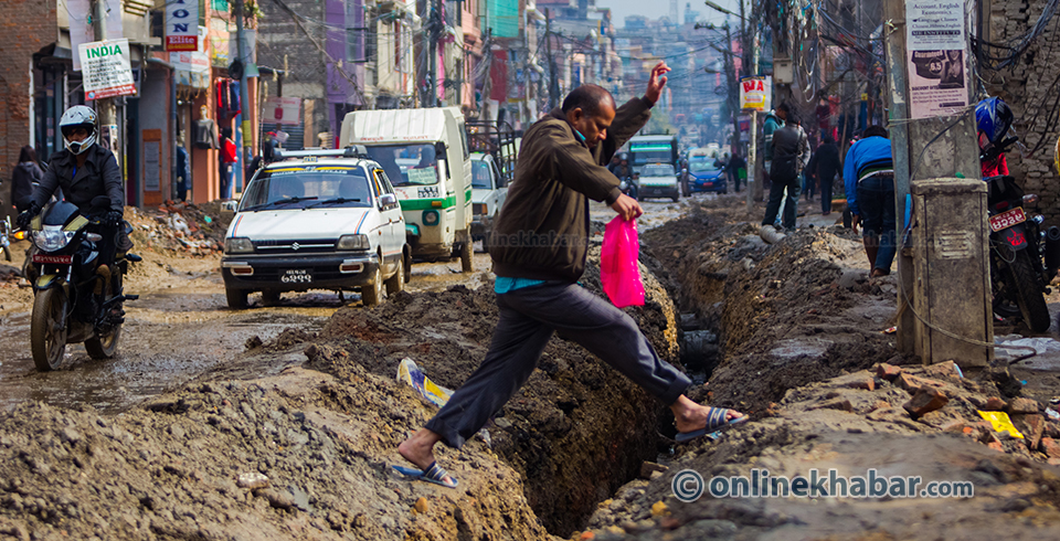Digging a road for Melamchi pipeline (16)